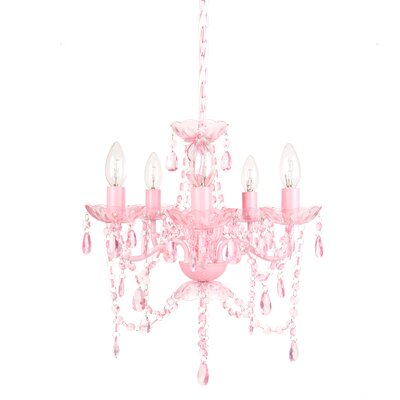 Senoia 5-Light Crystal Chandelier Color: Pink Sapphire