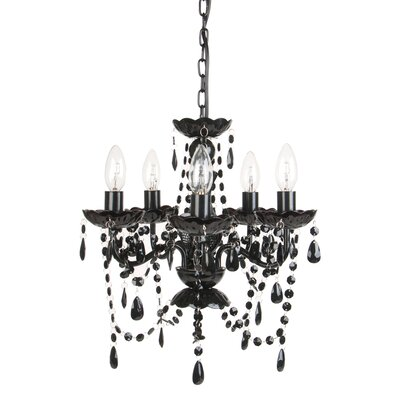 Caden 5-Light Crystal Chandelier Color: Black Onyx
