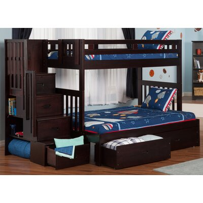 Twin over Full Bunk Bed with Staircase with Storage