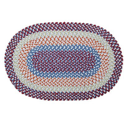 Tanya Hand-Braided Blue/Red Area Rug Rug Size: Oval 3 x 5