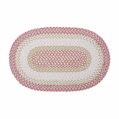 Tanya Tea Party  Hand-Braided Pink Area Rug Rug Size: Oval 3 x 5