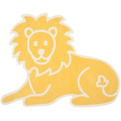 Lion Hand-Loomed Egg Yolk Area Rug Rug Size: 57 x 7