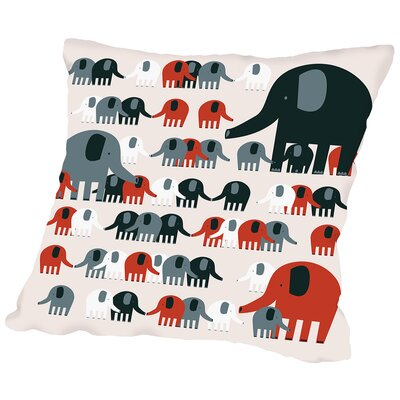 Elephants Throw Pillow Size: 18 H x 18 W x 2 D