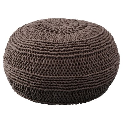 Ramon Color Cable Knit Pouf Upholstery: Mocha