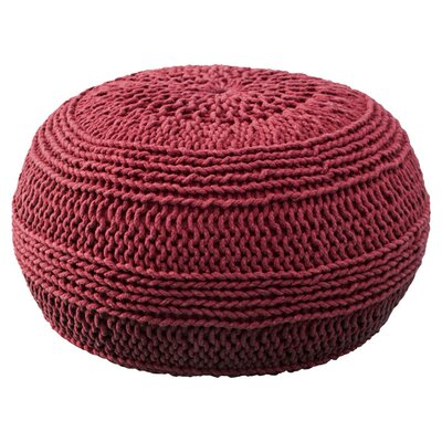 Ramon Color Cable Knit Pouf Upholstery: Red
