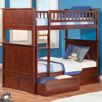 Maryellen Twin Bunk Bed with Storage Configuration: Full over Full, Finish: White