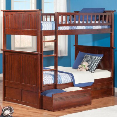 Maryellen Bunk Bed with Storage Size: Twin over Twin, Color: Antique Walnut