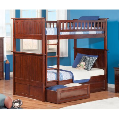 Maryellen Bunk Bed with Storage Configuration: Twin over Twin, Finish: Antique Walnut