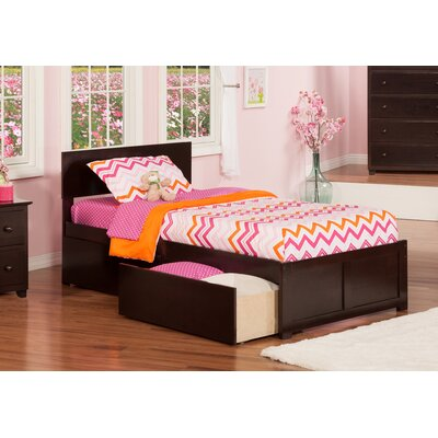 Mathias Extra Long Twin Panel Bed with Storage Finish: Espresso