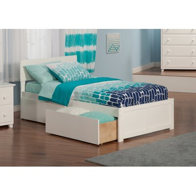 Mathias Extra Long Twin Panel Bed with Storage Finish: White