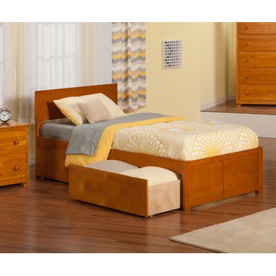 Mathias Extra Long Twin Panel Bed with Storage Finish: Caramel Latte
