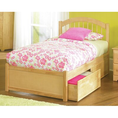 Matt Storage Panel Bed Finish: Natural, Size: Twin