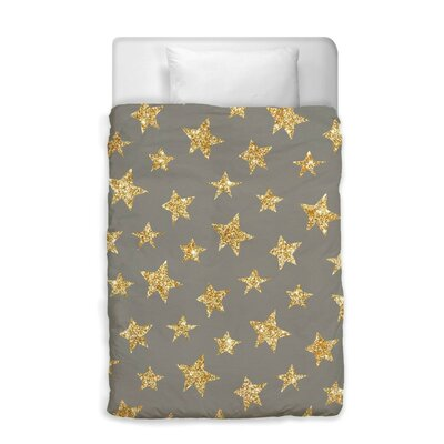 Shelia Gold Stars Pattern Duvet Cover Size: Twin