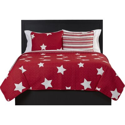 Cotton Reversible Quilt Set Size: Twin, Color: Red