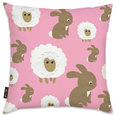 Shelia Sheep Bunny Pink Throw Pillow