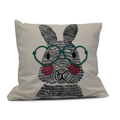 Nona WhatS Up Bunny? Throw Pillow Color: Teal, Size: 26 H x 26 W