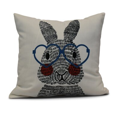 Nona WhatS Up Bunny? Throw Pillow Size: 26 H x 26 W, Color: Blue