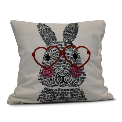 Nona WhatS Up Bunny? Throw Pillow Size: 16 H x 16 W, Color: Red