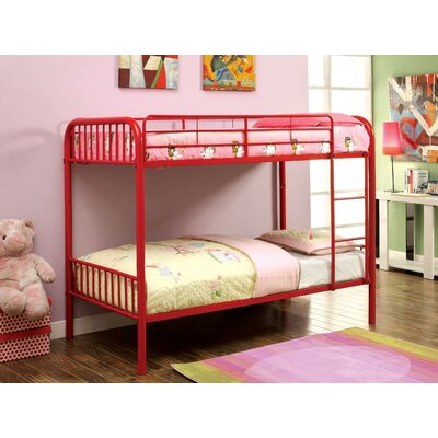 Olga Twin over Twin Bunk Bed Color: Red