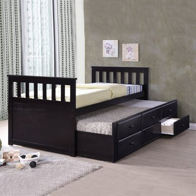 Noreen Twin Slat Bed with Trundle and Drawers Finish: Espresso
