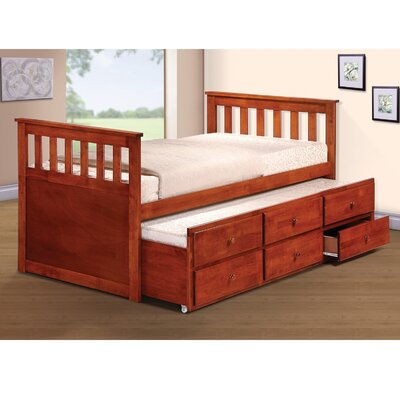 Noreen Twin Slat Bed with Trundle and Drawers Finish: Oak