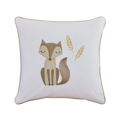 Claudia Fox Embroidered Cotton Throw Pillow