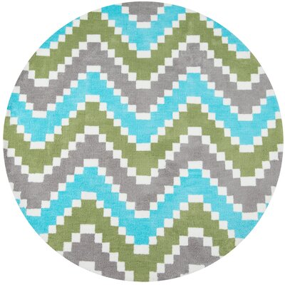 Anita Hand-Tufted�Green/Blue/Gray Area Rug Rug Size: Round 4 x 4