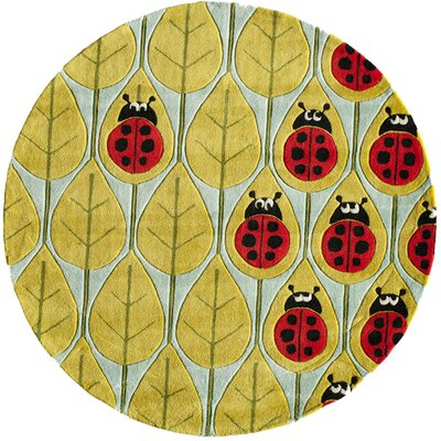 Elliot Hand-Tufted Green/Red/Blue Kids Rug Rug Size: Round 5