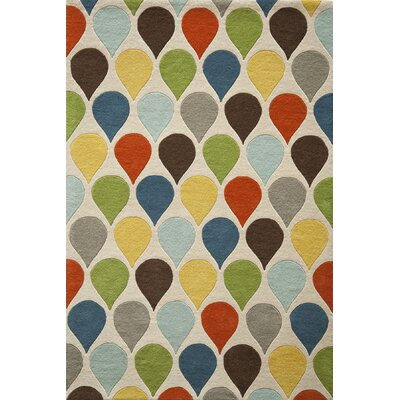 Eli Hand-Tufted Green/Blue/Beige Area Rug Rug Size: 36 x 56