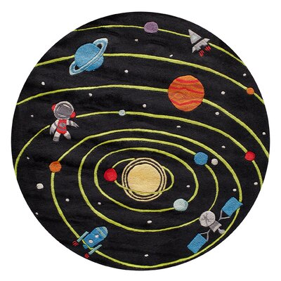 Johnnie Hand-Tufted Black Kids Rug Rug Size: Round 5