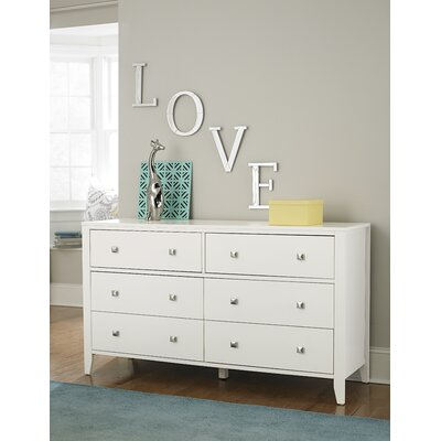 Susan 6 Drawer Double Dresser Color: White