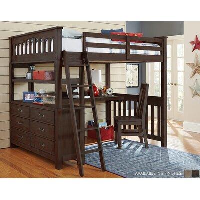 Wilbur Loft Bed with Desk Color: Espresso, Size: Full