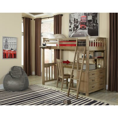 Wilbur Loft Bed with Desk Size: Twin, Finish: Espresso