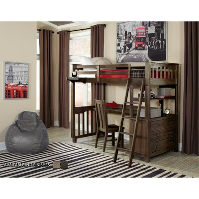 Wilbur Loft Bed with Desk Color: Espresso, Size: Twin
