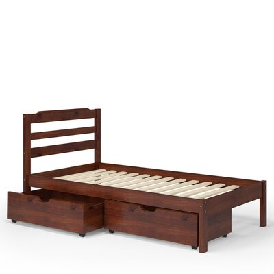 Brian Twin Slat Bed with Drawers Finish: Brown