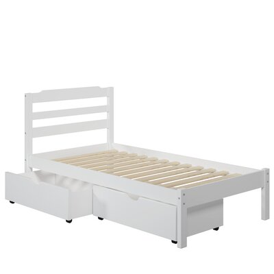 Brian Twin Slat Bed with Drawers Finish: White