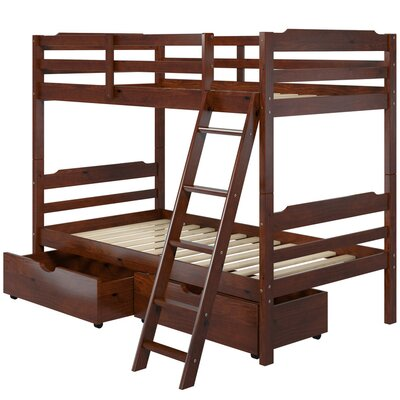 Brian Twin over Twin Bunk Bed with Drawers Color: Brown