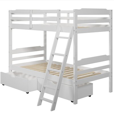 Brian Twin Bunk Bed with Drawers Finish: White