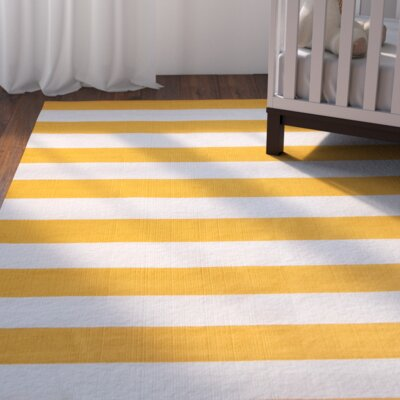 Ike Hand-Woven Yellow/White Area Rug Rug Size: Rectangle 26 x 4