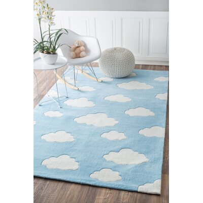 Lily Cloudy Sachiko Hand-Tufted Blue Area Rug Rug Size: 5 x 8