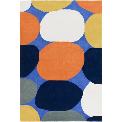 Greenburgh Hand-Tufted Navy Area Rug Rug size: 76 x 96