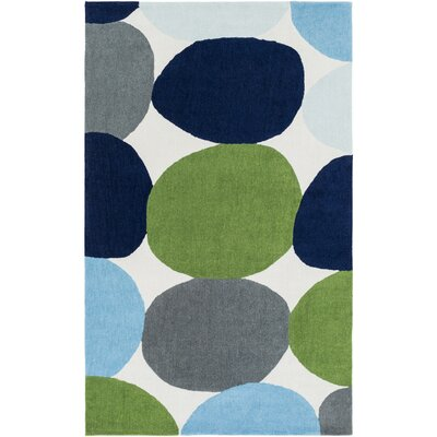 Greenburgh Hand-Tufted White Area Rug Rug size: 3 x 5
