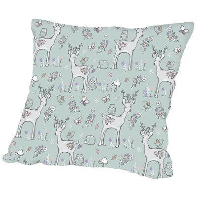 Deer and Owls Throw Pillow Size: 14 H x 14 W x 2 D