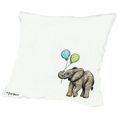Brianna Nursery Elephant Throw Pillow Size: 16 H x 16 W x 2 D