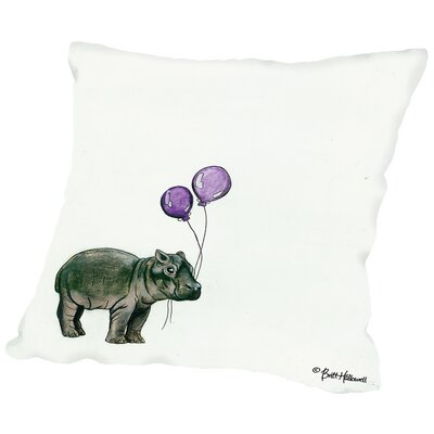 Miles Nursery Hippo Throw Pillow Size: 14 H x 14 W x 2 D