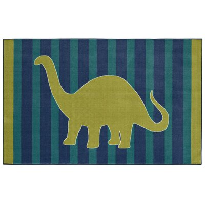 Brynn Friendly Dinosaur Blue Kids Rug