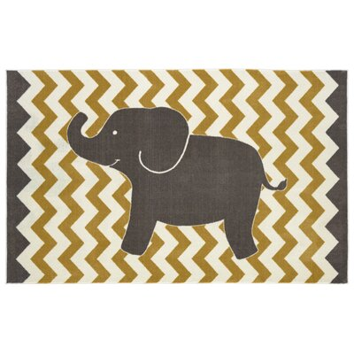 Brynn Lucky Elephant Yellow Kids Rug