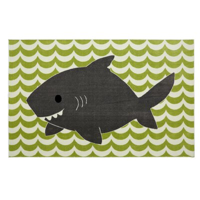 Brynn Smiling Shark Lime Green Area Rug