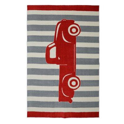 Brynn Vintage Truck Crimson Red Area Rug