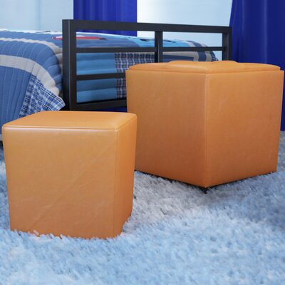 Isaac 2 Piece Ottoman Set Upholstery: Orange
